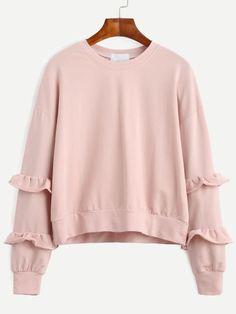 Sweatshirt Drop Schulter mit Rüschen - rosa