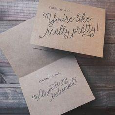 Funny Bridesmaid Proposal Card Bridal Party Maid by ElleLaneDesign Brides Maid Proposal, Bridesmaid Proposal Cards, Be My Bridesmaid Cards, Will You Be My Bridesmaid, Wedding Bridesmaids, Junior Bridesmaids, Bridesmaid Ideas, Bridesmaid Gifts, Wedding Dresses
