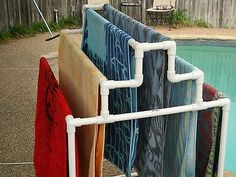 outdoor pool towel storage pool side towel rack i would actually like to have this for drying clothes outdoor pool towel storage cabinet Towel Rack Pool, Pool Towels, Towel Racks, Drying Racks, Pool Towel Holders, Pvc Pipe Projects, Outdoor Projects, Pallet Projects, Pool Storage