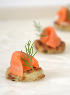 Rosti with Smoked Salmon  #culinarycapers #canape #horsdoeuvre #catering http://www.culinarycapers.com/ Photo: Chef Margaret Chisholm