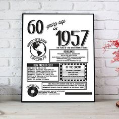 60th Birthday Poster Printable Gift  Print and Frame!  1957 Fun Facts 60th Birthday Gift!  3 Sizes available with download 8x10 11x14 16x20 All ready to printed, framed, gifted or displayed for that special someones 60th Birthday!  Perfect last minute gift or addition to Party Decorations!  You will receive a Link to download your file containing all your order. Any issues or concerns please contact us!  This is for a Digital File only. No physical items will be posted out. Please be aware…