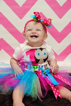 Colorful Owl Birthday Tutu Outfit - Customizable - FREE SHIPPING on Etsy, $39.99