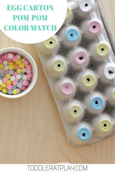 A fun color sorting activity for toddlers using an egg carton and pom-poms! Toddlers will love this idea! Great for fine motor and cognitive skills #pompoms #colorsort #preschool #recycledcrafts