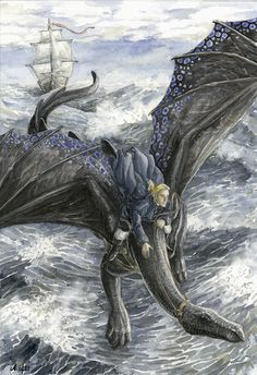 """His Majesty's Dragon, p. 34  """"That man who brought me the shark is in the water,"""" Temeraire said presently, and Laurence followed his line of sight; through the nearly solid mass of rain he could see a blur of red-and-white shirt some six points abaft the larboard beam, and something like an arm waving: Gordon, one of the hands who had been helping with the fishing. [...] """"He is too far from those ropes,"""" Temeraire said. """"I will go and get him."""""""