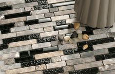 Mosaic Tile is an exclusive design of mosaic wall tiles made with combination of natural stone in grey hues and black painted glass. Stone Mosaic Tile, Mosaic Wall Tiles, Mosaic Glass, Natural Stones, New Homes, Grey, Nature, House, Beautiful
