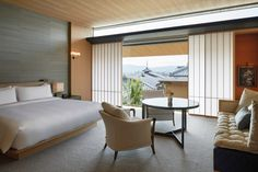 Featuring 70 guest rooms, including 9 suites, the spaces at Park Hyatt Kyoto are both thoughtful and tranquil, offering a quiet retreat from the bustling Higashiyama streets. Walnut Furniture, Relaxation Room, New Property, Article Design, Room Set, Kyoto, Guest Room, Interior Design, Home Decor