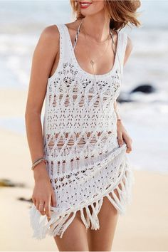The knitted pullover is featuring scoop neck, sleeveless, hollow out and fringed hemline.Elegant Fringe White Sleeveless Knitted Crochet Beach Dress.Beach dress. More from www.azbro.com