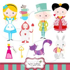 Alice in Wonderland Clip Art Clipart Set - Personal and Commercial Use
