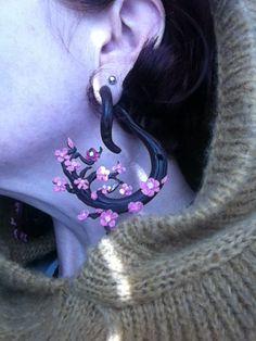 Pair Sawo Wood Cherry Blossom Rose Flower Floral Ear Hanging Hooks Gauges Plugs