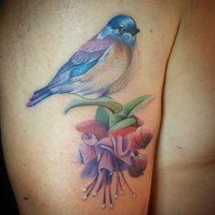 Maria Lucero Saenz watercolour bird and flower