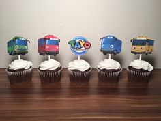 Tayo the Little Bus Cupcake Toppers (Set of 12) by TaimCreations on Etsy