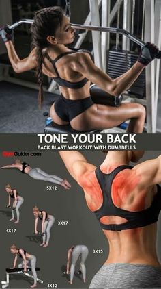 You may not see your back easily in the mirror, but that doesn't mean you should skip it in your workouts. Back exercises create a sculpted backside that looks good as you walk away. Back exercises. Sports Challenge, Workout Challenge, Back Fat Workout, Dumbbell Workout, Back Workout Women, Tone Arms Workout, Yoga Fitness, Fitness Tips, Fitness Motivation