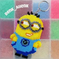 Minion keyring hama mini beads by renk__ahenk