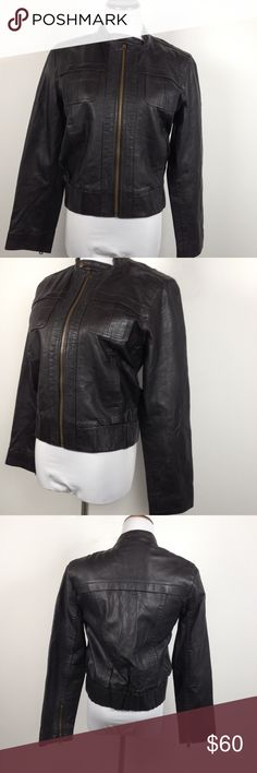 Gap lamb leather MOTO jacket medium Brand new without tags. Has dark brass hardware and is like a dark brown, almost black leather. Size medium. Smoke free home! GAP Jackets & Coats