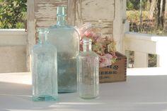 Handblown Sea Glass Blue Bottles Set of 3 by RosebudsOriginals