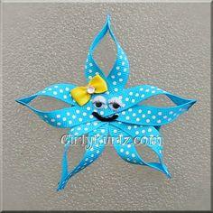 Turquoise Starfish Hair Clip Beach Hair Clip Star Fish Ribbon Sculpture Hair Bow