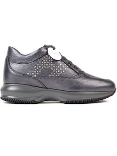 Hogan Crystal Embellished Sneakers In Grey Cole Haan, Oxford Shoes, Dress Shoes, Lace Up, Crystals, Grey, Sneakers, Leather, Shopping