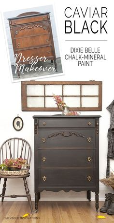 Dixie Belle Caviar Before & After Vintage Painted Dresser furniture bedroom furniture on a budget furniture cheap home furniture Bedroom Furniture Makeover, Refurbished Furniture, Repurposed Furniture, Shabby Chic Furniture, Rustic Furniture, Vintage Furniture, Furniture Decor, Furniture Stores, Diy Bedroom