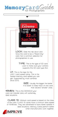 Guide to buying memory cards. For specific recommendations of which card to buy. Improve Photography, Photography Basics, Photography Lessons, Photoshop Photography, Camera Photography, Photography Business, Image Photography, Photography Tutorials, Scenic Photography