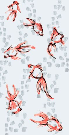 Goldfish in the Grey Art Print by Jen Moules | Society6