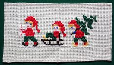 Amazing hand embroidered Christmas table runner / picture / wall hanging handmade cross stitch embroidered on linen In excellent vintage condition. Creates a cozy atmosphere. Measurements : 49 x 27 cm - x