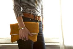 belt & clutch are so cute and I just love all the stripes this season!