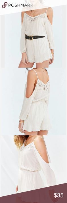 Urban outfitters ecoté beige romper Urban outfitters ecoté beige romper with cut out shoulders and crochet at the top. Worn twice. Great condition! Urban Outfitters Dresses