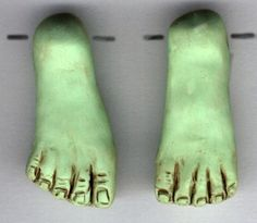 Polymer Clay Drilled Green Witch or Frankenstein Feet Pair
