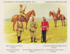 Tasmanian & New Zealand units by Richard Simkin. Unit details shown on plate. Anzac Soldiers, Toy Soldiers, German Uniforms, Military Uniforms, Military Art, Military History, British Army Uniform, Battle Of Waterloo, British Colonial