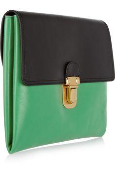 Marni Two-tone leather clutch NET-A-PORTER.COM