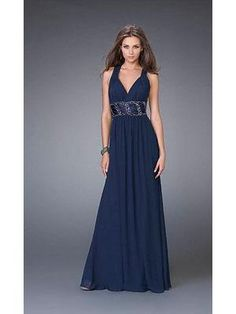 This La femme prom dress has two thick straps with a deep v neckline to draw attention towards the torso. Description from promdressshop.com. I searched for this on bing.com/images