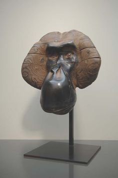 Masque d'orang-outang, bronze. Quentin Garel. At the Bertrand Delacroix Gallery, 535 w. 25th street, nyc.