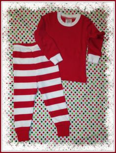 Christmas Pajamas Red Top with Red and White Stripe by HeartTugzs