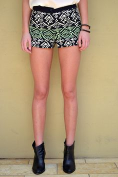 New Age Queen | Jacquard Tribal Shorts in Mint Black