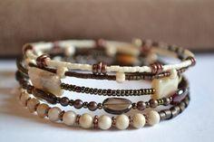Brown and Cream Memory Wire Bracelet Boho Wrap by IvysPebbles