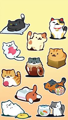 "cartoonheroes: ""Made some Neko Atsume stickers! Cute Cat Drawing, Cute Animal Drawings, Kawaii Drawings, Cute Drawings, Neko Atsume Wallpaper, Neko Atsume Kitty Collector, Kawaii Doodles, Kitty Games, Kawaii Cat"