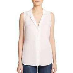 Equipment Adalyn Linen Sleeveless Blouse ($95) ❤ liked on Polyvore featuring tops, blouses, apparel & accessories, linen blouse, tailored shirts, collared shirt, pink collared shirt and pink blouse