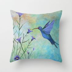 HUMMINGBIRD don't FLY AWAY FLY AWAY Throw Pillow by Rokin Art by RokinRonda - $20.00