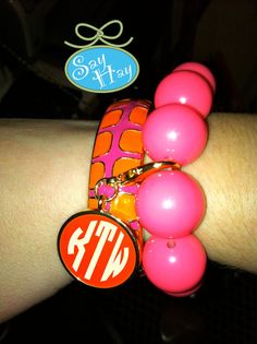 pink and orange monogram