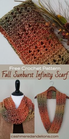 A free and easy crochet pattern for a gorgeous infinity scarf! Today I'd like to share my free crochet scarf pattern for the Fall Sunburst Infinity Scarf. Loop it once for a long scarf or twice to create a cowl! Crochet Infinity Scarf Free Pattern, Crochet Scarf Easy, Crochet Simple, Crochet Fall, Crochet Shawls And Wraps, Easy Crochet Patterns, Crochet Scarves, Crochet Cowls, Crochet Infinity Scarves
