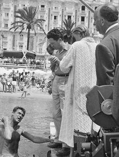 """cinemamoremio: """"  Cary Grant, Grace Kelly e Alfred Hitchcock sul set  Caccia al ladro 1955  """""""