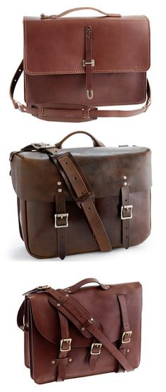 Leather Satchels for Men From HGTV's Design Happens Blog (http://blog.hgtv.com/design/2013/04/10/daily-delight-leather-satchels-for-men/?soc=pinterest)