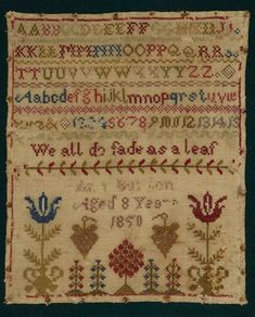 Antique Stitched Alphabet Sampler... c.1850.
