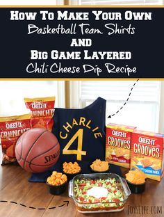 Make your own basketball team shirts using iron on vinyl! Plus, a delicious layered dip recipe on this post. Chili Cheese Dips, Party Dip Recipes, Layer Dip, Iron On Vinyl, Team Shirts, How To Make Diy, Basketball Teams, Big Game, Vinyl Projects