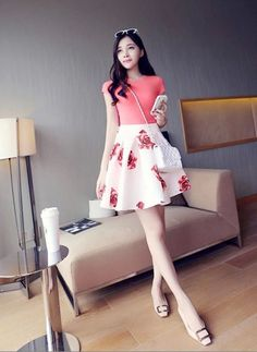 $ 5.75 Stylish Ladies Women Sexy Floral Pleated Casual Party Mini Skirt