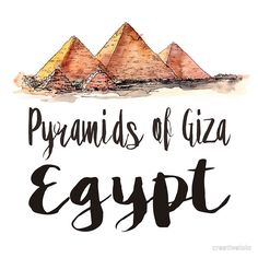 Pyramids of Giza in Egypt, watercolor • Buy this artwork on apparel, stickers, phone cases, and more.