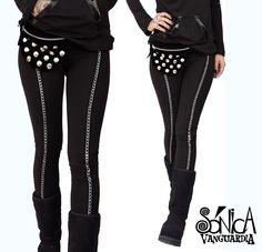 Calzas Leggings lycra de algodón. Cadena vertical Chains  Black legging dark metal
