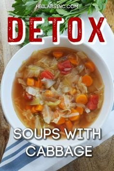 You can easily turn cabbage soup recipes into detox soup recipes with cabbage. These easy recipes can support weight loss and offer a healthy meal option. Healthy Food Options, Healthy Soup Recipes, Detox Recipes, Vegetarian Recipes, Easy Recipes, Easy Meals, Detox Soup Cabbage, Cabbage Soup Diet, Cabbage Soup Recipes