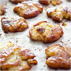 """One bag of Klondike potatoes - 1lb. Cook for 30 minutes at 500 deg on a cookie sheet covered in foil and with 3/4 cup of water.  Place on the bottom rack.  Let them rest for 10 minutes and then pour 3 tbl spoons of olive oil over potatoes (roll to coat).  Smash each potato with a coffee cup to just under 1/2 inches thick.  Salt pepper and about a tea spoon of thyme.  Back in the oven ( same temp ) on the top rack for 15 minutes to """"dry"""" out.  Move to lower rack and cook for another 20 to 30…"""