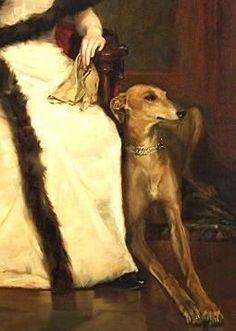 Portrait of a Lady with Greyhound by Václav Brozik (Czech 1851-1901) (détail )